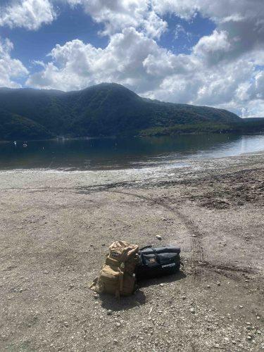 西湖自由キャンプに河が出来た日